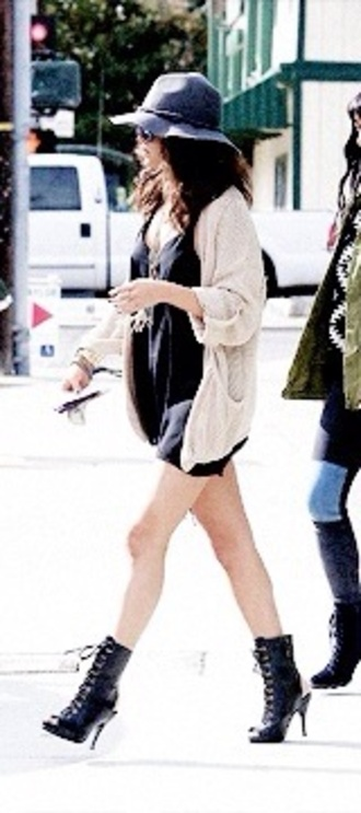 dress black dress little black dress cardigan oversized cardigan hat boots shoes jewelry jewels selena selena gomez blouse