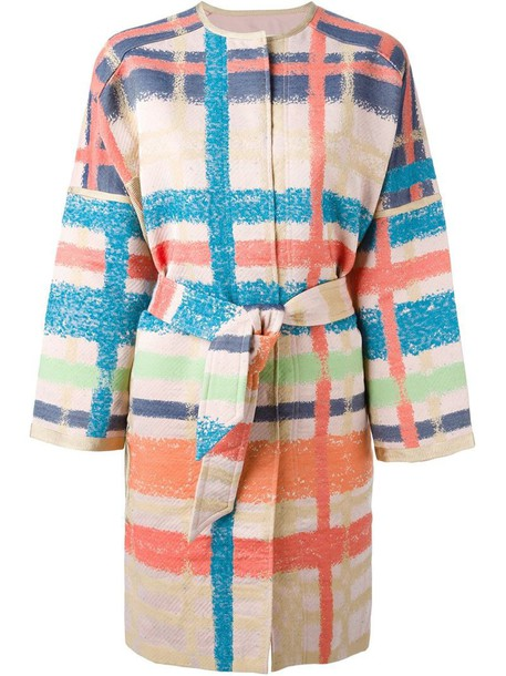 TSUMORI CHISATO coat plaid purple pink