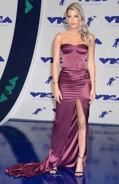 dress,alissa violet,vma,mtv,gown,prom dress,strapless,slip dress,sandals