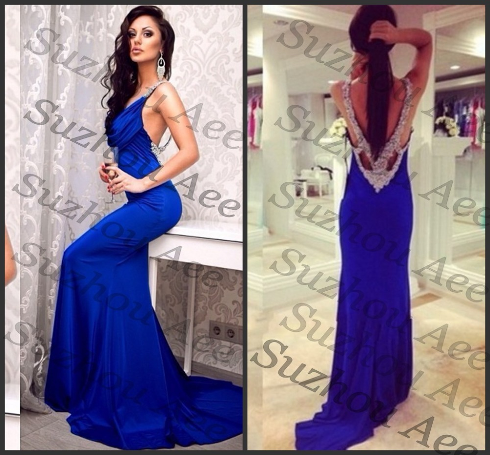 Aliexpress.com : buy new fashion sexy designer 2014 royal blue chiffon backless prom dresses diamonds v back mermaid formal evening gowns from reliable dress outside suppliers on suzhou aee wedding dress co. , ltd