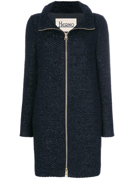 Herno coat glitter women blue wool