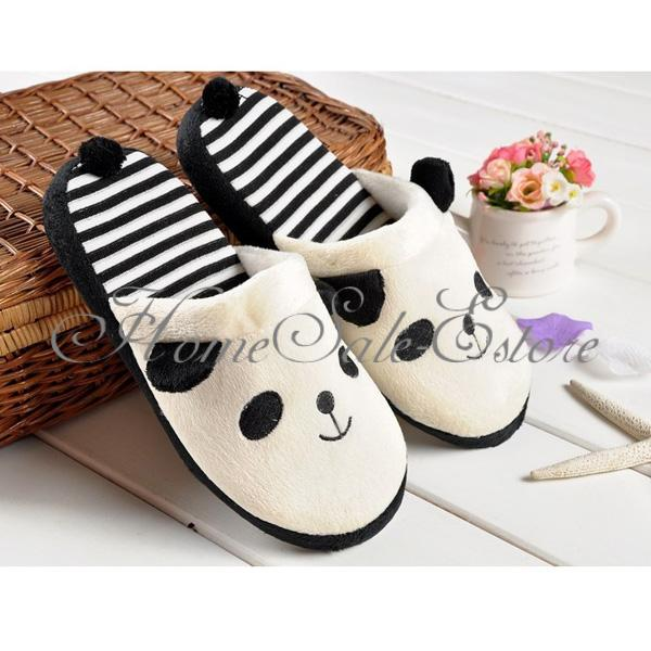 Winter Warm Coral Velvet Cute Soft Anti-slip Panda Home Slippers Shoes With Tail | eBay