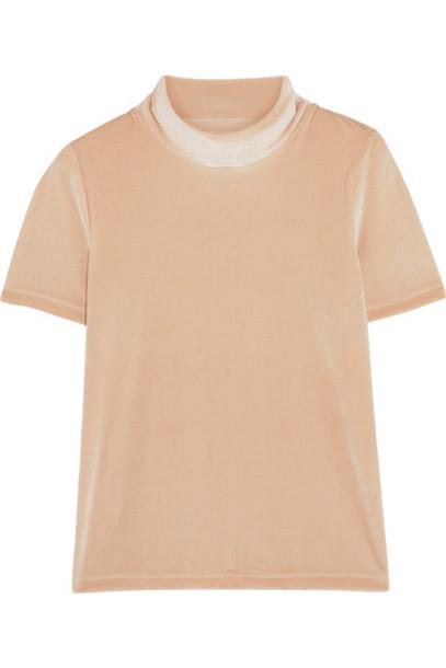 Madewell top pastel velvet pink pastel pink