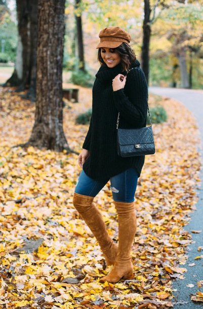 life & messy hair blogger sweater hat shoes bag chanel bag fall outfits over the knee boots boots black sweater turtleneck sweater
