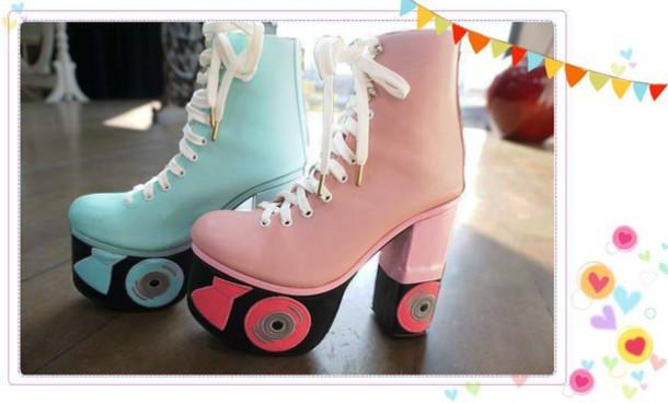 Shoes Kawaii Pink Blue Boots Roller Skates Wheretoget