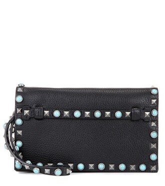 leather clutch embellished bag clutch leather black