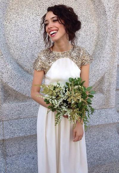 ivory white dress prom wedding dress formal dress gold sequins bridesmaid grecian dress