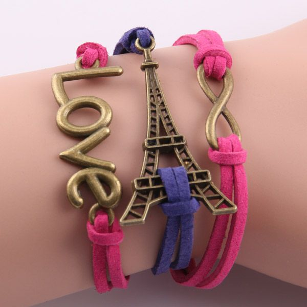 Eiffel tower love wrap girl bracelet