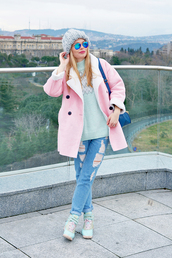 ag on i ya,blogger,ripped jeans,pink coat,knitted beanie