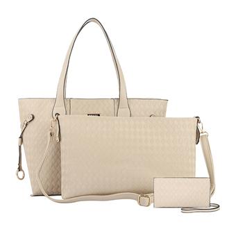 bag fashion women beige bag 3 pieces bags shoulder bag handbag street lady weave pu three pieces