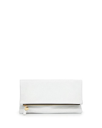 Clare V. Perforated Leather Fold-Over Clutch, White - Bergdorf Goodman