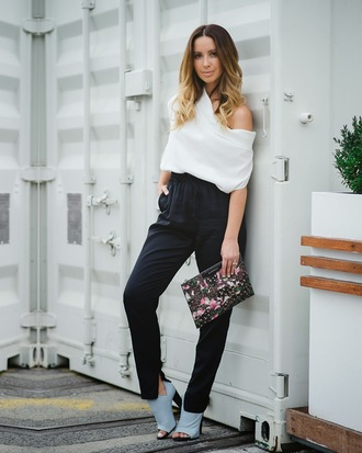 friend in fashion blogger white top off the shoulder pouch peep toe heels high waisted pants