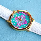 jewels,watch,white band watch,vegan leather,tribal watch,mint,fuchsia,gold,spring,summer,beach,summer outfits,beach style,sophisticated,trendy,pretty,cute,girly