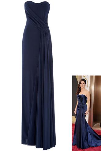 dress sandra bullock maxi bandeau strapless oscar2014 red carpet column stylish demure luxury bustier