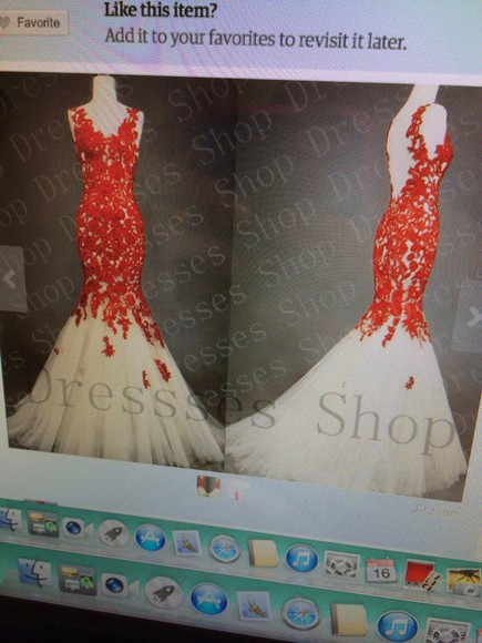dress tutu white tulle red lace prom openback