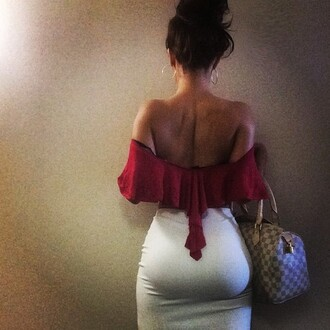 shirt louis vuitton louis vuitton bag date outfit off the shoulder white red sexy burgundy top skirt bodycon white skirt