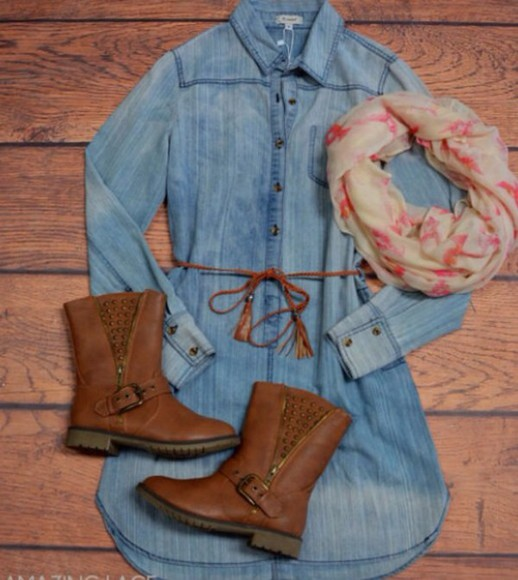 boots brown shoes fashion denim dress scarf fall outfits cute dress belt back to school