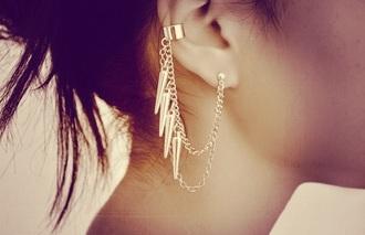 jewels jewelry earrings ear cuff chain