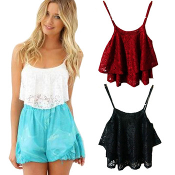 Aliexpress.com : buy women's hot sweet sexy princess lace ruffles crop top tank vest from reliable tank charge suppliers on amee fashion trading co., ltd.