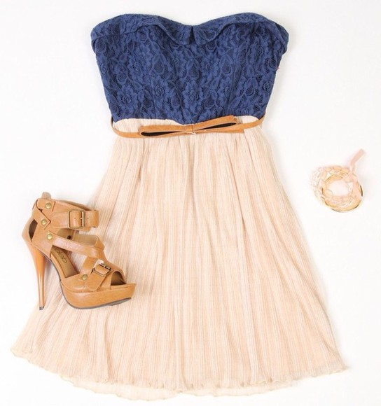 belt dress lace blue dress high heels shoes