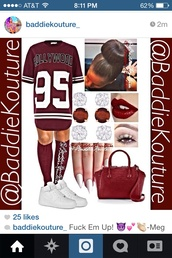 jersey dress,velvet,knee high socks,bun head,stiletto nails,nike air force 1,cute,hollywood,95,burgundy,number tee,bag,shoes,make-up,dress,socks,shirt