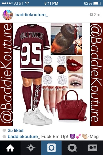 jersey dress velvet knee high socks bun head stiletto nails nike air force 1 cute hollywood 95 burgundy number tee bag shoes make-up dress