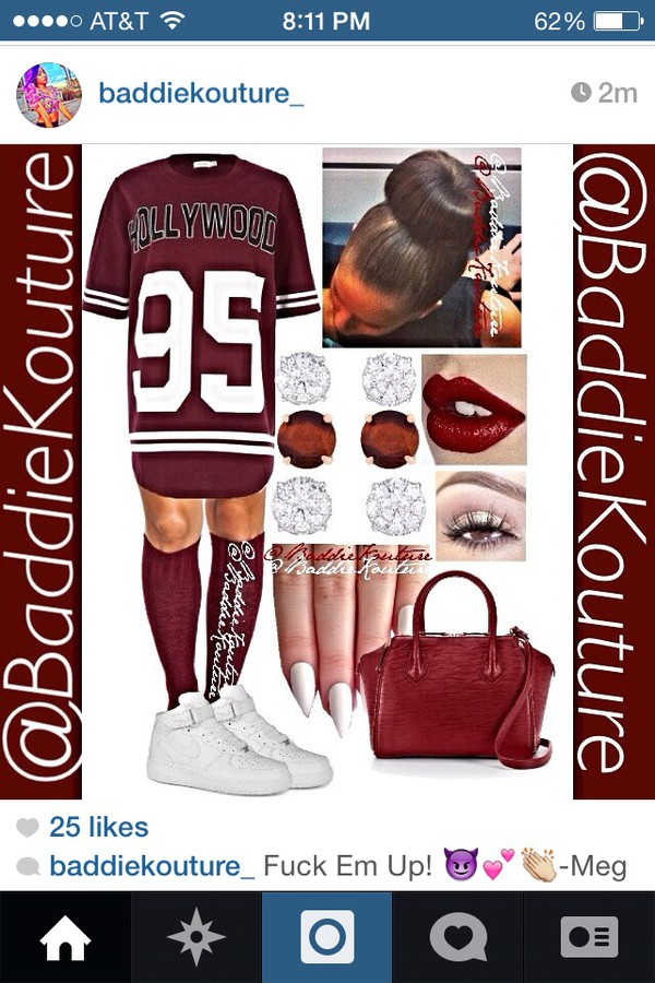 jersey dress velvet knee high socks bun head stiletto nails nike air force 1 cute hollywood 95 burgundy number tee bag shoes make-up dress socks shirt