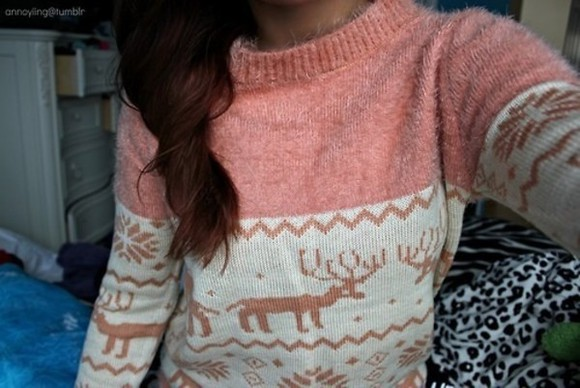 sweater nitted pink and white raindeer winter sweater snow flakes