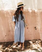 jumpsuit,hat,tumblr,blue jumpsuit,off the shoulder,cropped jumpsuit,sandals,flat sandals,sun hat,sunglasses,bag,shoes,soludos