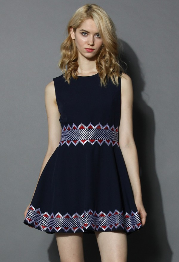 chicwish navy sleeveless dress grid embroidery