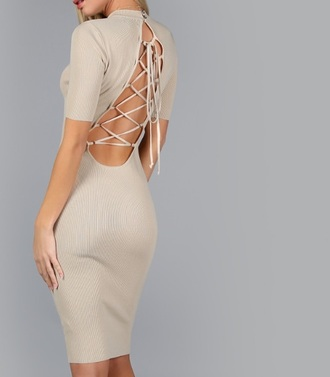 dress girly girl nude nude dress bodycon dress backless