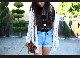 cardigan black top cream color white knitwear shorts