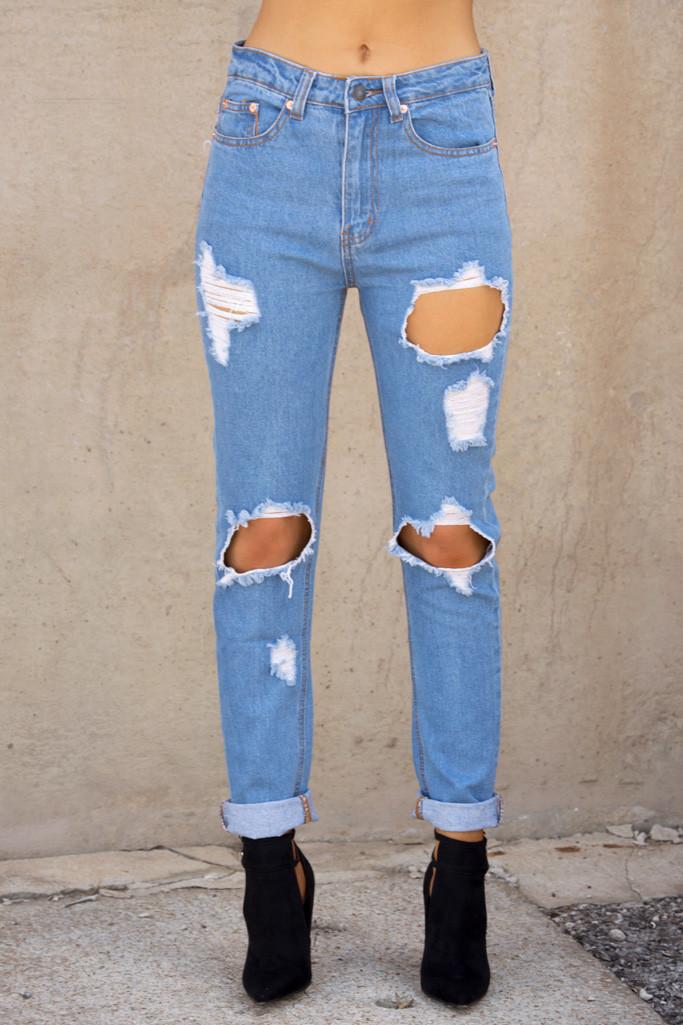 Distressed boyfriend jean – luv mint