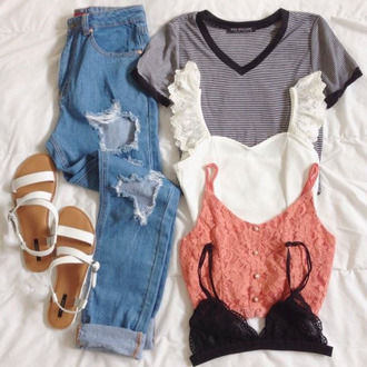 top shirt striped shirt striped top boyfriend jeans light blue boyfriend jeans ripped boyfriend jeans crop tops lace peach white bralette scalloped bralette black lace black lace bralette lace bralette shoes on point clothing tumblr underwear jeans outfit summer girly cute fashionista summer outfits t-shirt