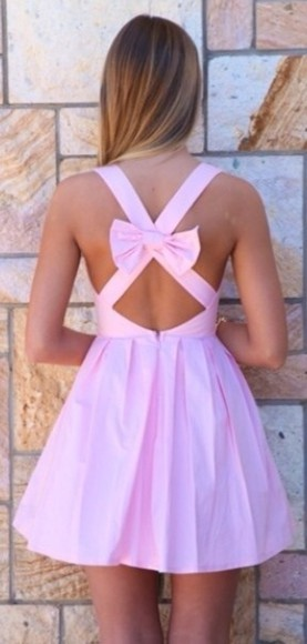 cotton pink dress pink dress mini dress bow crossed back cute dress