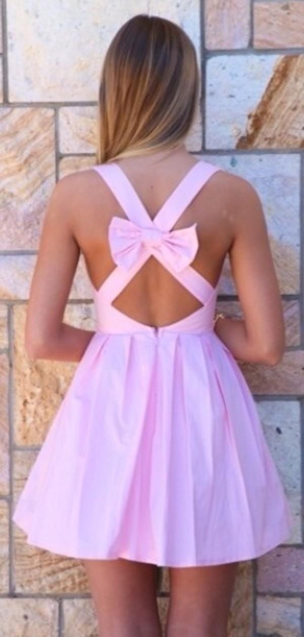 dress pink dress pink mini dress cotton bow crossed back cute dress