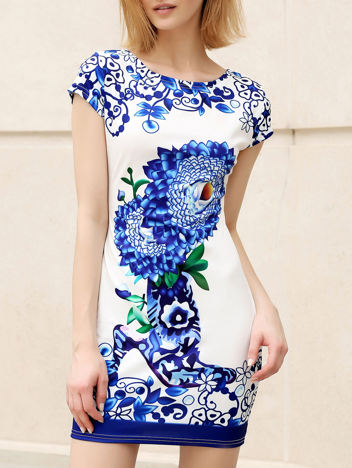 Trendy Round Collar Short Sleeve Floral Print Skinny Dress For Women
