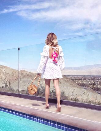 laminlouboutins blogger dress bag summer dress summer outfits white dress round bag