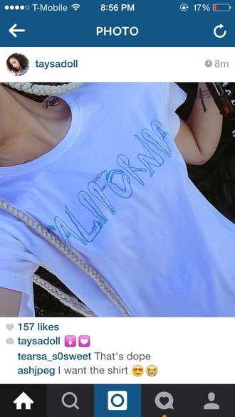 shirt t-shirt california girls