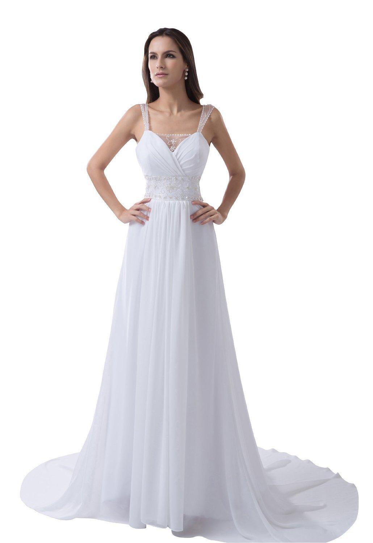 Enjoybuys white chiffon spaghetti straps beach wedding for Amazon cheap wedding dresses