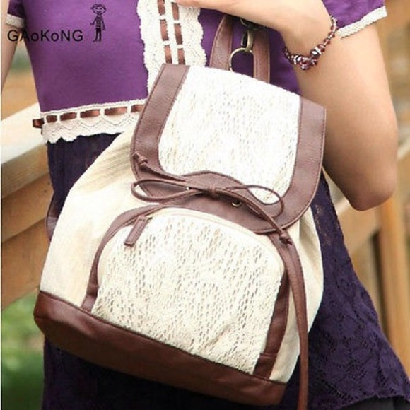 bag backpack vintage hippie white beige vintage backpack lace festival