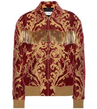 jacket jacquard velvet red