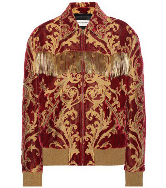 Saint Laurent Jacquard Velvet Jacket in red