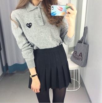 shirt long sleeves heart eyes gray korean fashion korean korean style skirt