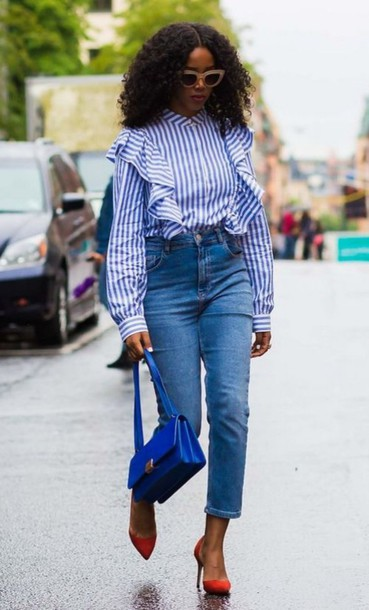 shirt ruffle shirt ruffle blue shirt long sleeves stripes striped shirt denim jeans blue jeans All blue outfit all blue cropped jeans pumps red shoes high heel pumps pointed toe pumps high heels bag blue bag sunglasses streetstyle curly hair