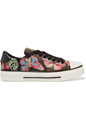 embroidered sneakers leather green shoes