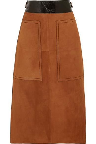 Bottega Veneta - Cracked leather-trimmed suede midi skirt