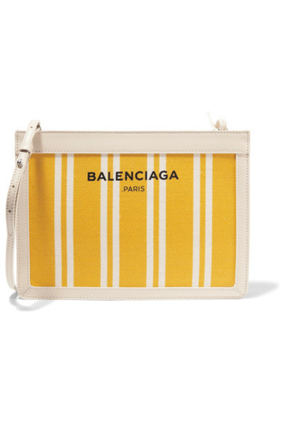 Balenciaga - Leather-trimmed Striped Canvas Shoulder Bag - Yellow