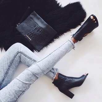 shoes black peep toe bag peep toe boots crocodile jeans black shoes boots black heels coat