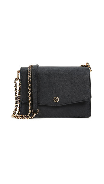 Tory Burch Robinson Convertible Shoulder Bag in black / navy